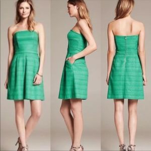 BANANA REPUBLIC Emerald tweed strapless cocktail 2